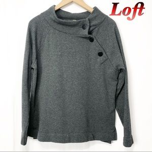 Loft-Dark Gray Button Up Sweatshirt M